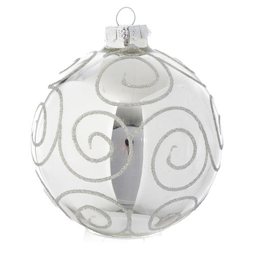 Tannenbaumkugel Silber mit Dekorationen 90mm 1
