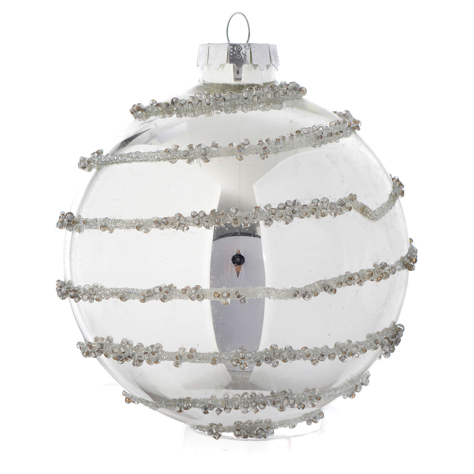 Palla vetro Silver decorata 90 mm per albero di Natale 4