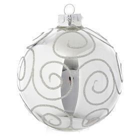 Palla vetro Silver decorata 90 mm per albero di Natale s1