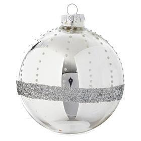 Palla vetro Silver decorata 90 mm per albero di Natale s2