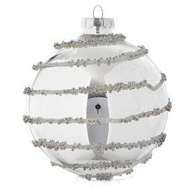 Palla vetro Silver decorata 90 mm per albero di Natale s3