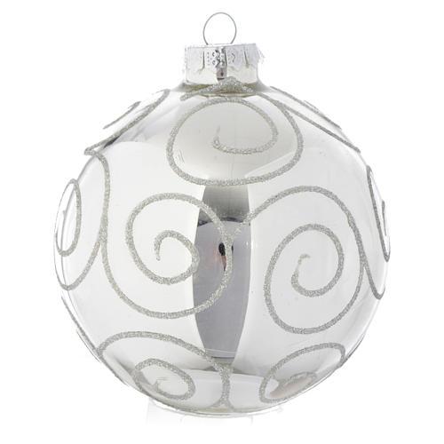 Palla vetro Silver decorata 90 mm per albero di Natale 1