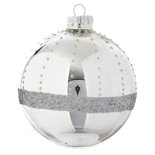 Palla vetro Silver decorata 90 mm per albero di Natale 2