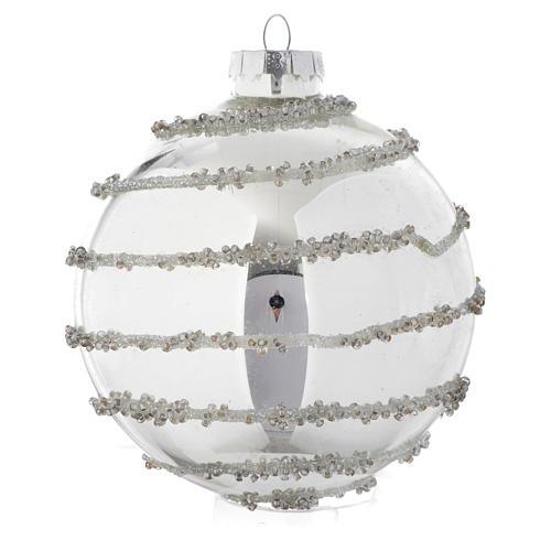 Palla vetro Silver decorata 90 mm per albero di Natale 3
