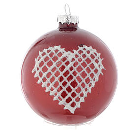 Red Christmas bauble with decoration, 70mm diameter s2