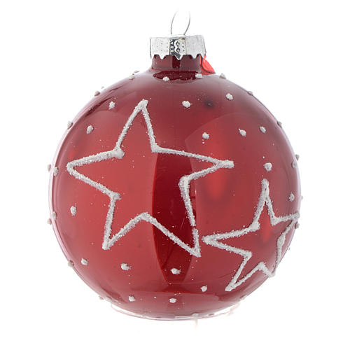 Red Christmas bauble with decoration, 70mm diameter 1