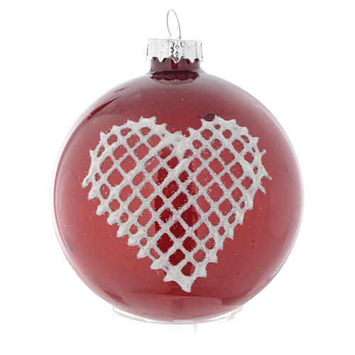 Red Christmas bauble with decoration, 70mm diameter 2