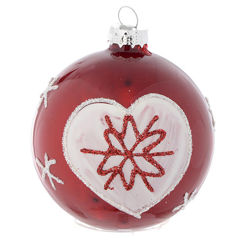Red Christmas bauble with decoration, 70mm diameter 3