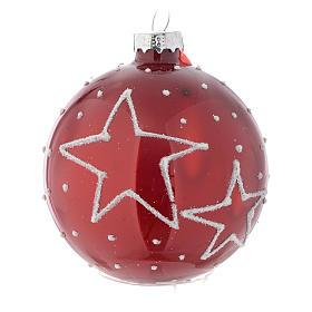 Palla vetro rossa con decori 70 mm per albero di Natale s1