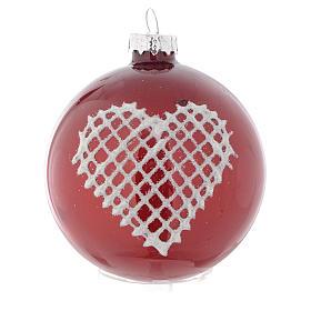 Palla vetro rossa con decori 70 mm per albero di Natale s2