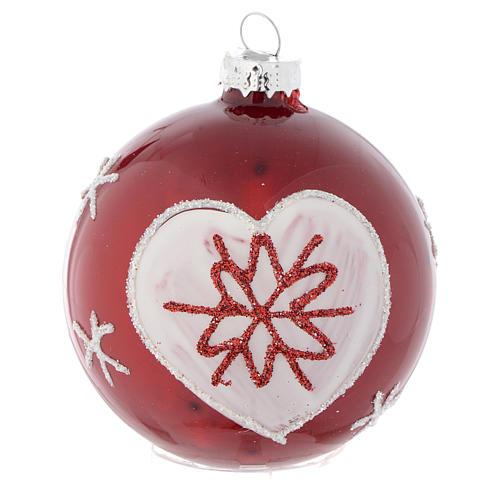 Palla vetro rossa con decori 70 mm per albero di Natale 3