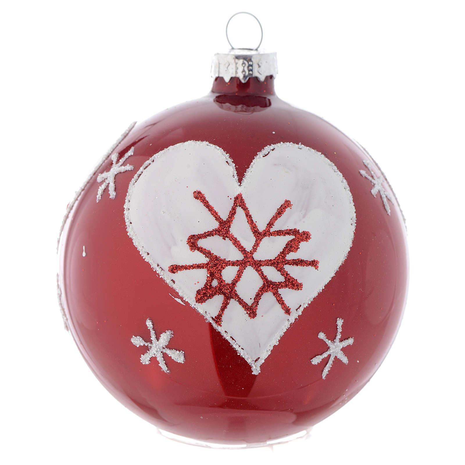 Bola de vidrio color rojo con decoraciones 80 mm para árbol de Navidad 4