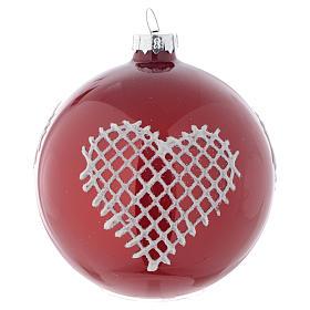 Bola de vidrio color rojo con decoraciones 80 mm para árbol de Navidad s1