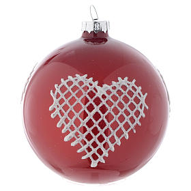 Palla vetro rossa con decori 80 mm per albero di Natale s1