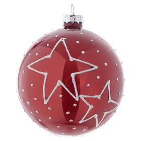 Palla vetro rossa con decori 80 mm per albero di Natale s2