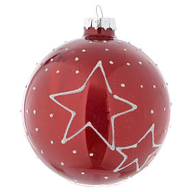 Red Christmas bauble with decoration, 90mm diameter s2