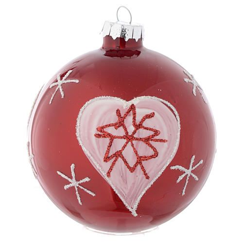 Red Christmas bauble with decoration, 90mm diameter 1