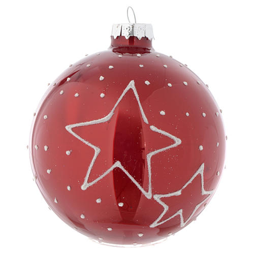 Red Christmas bauble with decoration, 90mm diameter 2