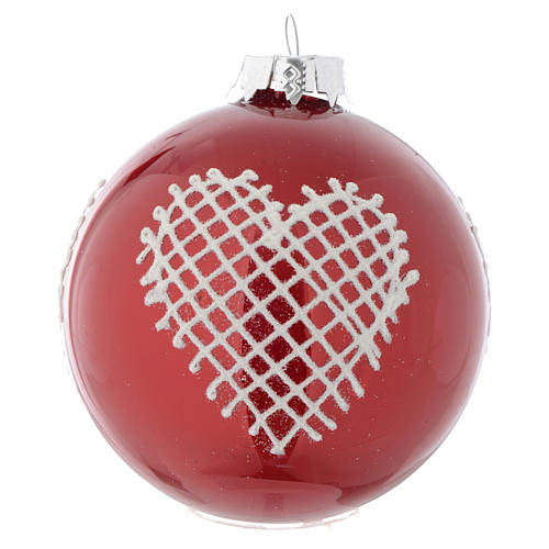 Red Christmas bauble with decoration, 90mm diameter 3
