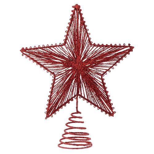 Cimier 25 cm étoile pour Sapin de Noël couleur rouge 1