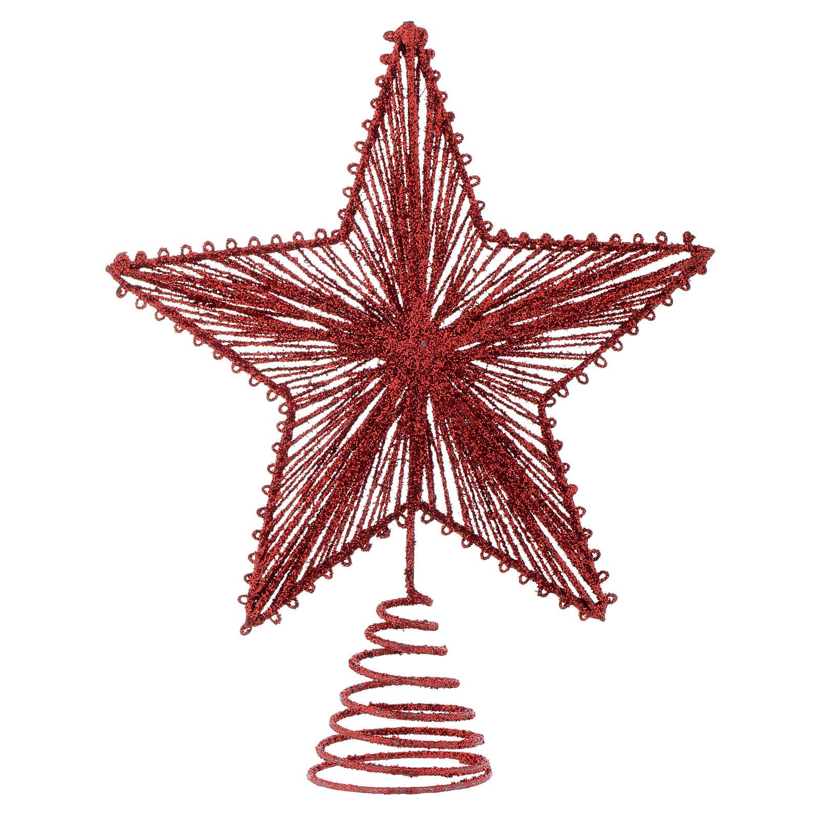 Puntale 25 cm Stella per Albero di Natale colore rosso 4
