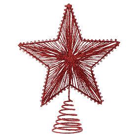 Puntale 25 cm Stella per Albero di Natale colore rosso s1