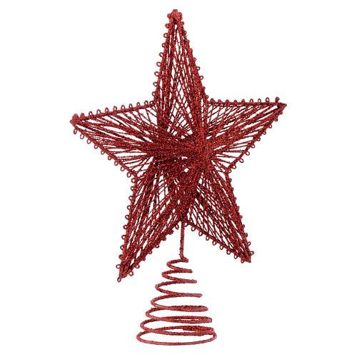 Puntale 25 cm Stella per Albero di Natale colore rosso 2