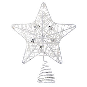 Adornos de madera y pvc para Árbol de Navidad: Punta Árbol de Navidad Estrella con glitter blanco