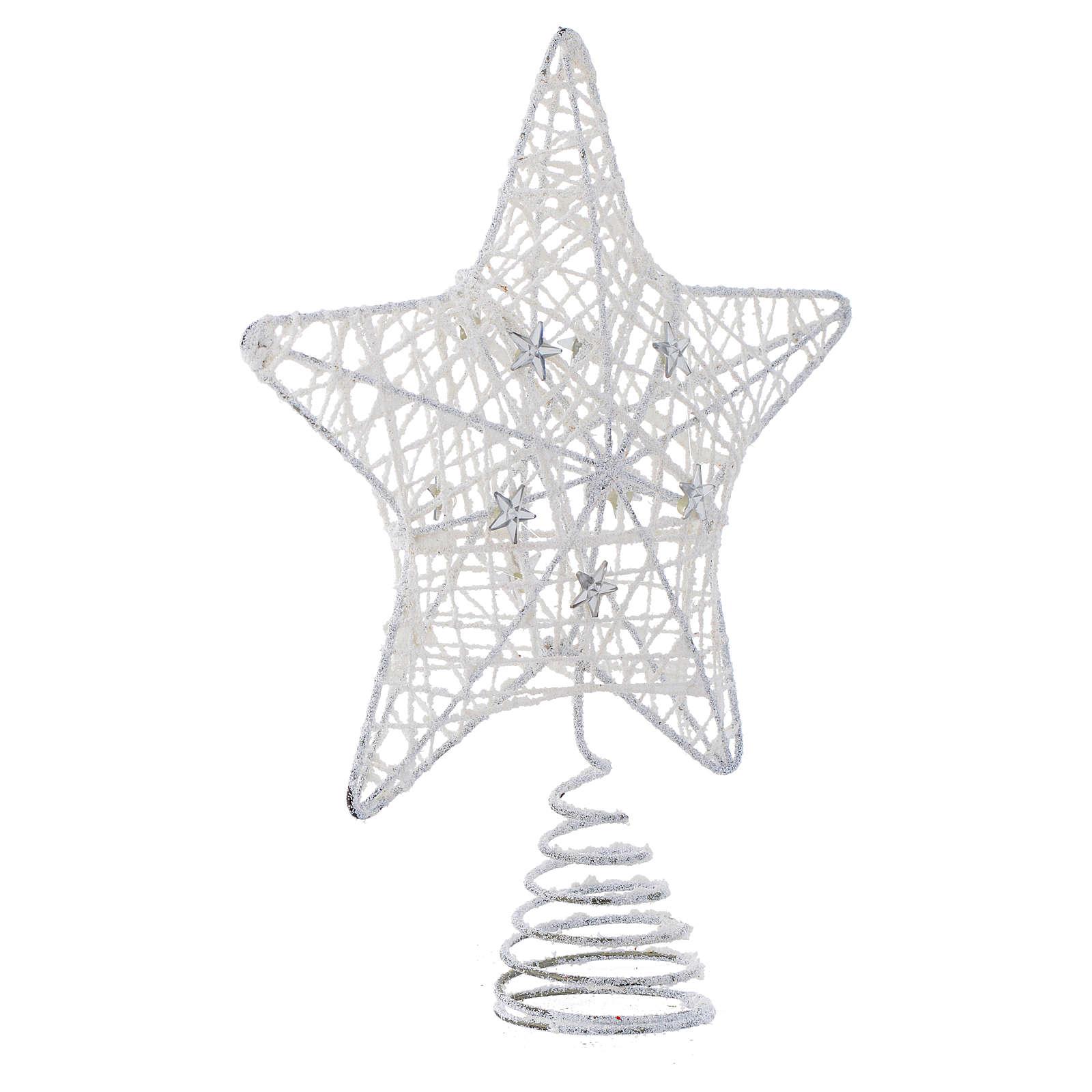 Puntale Albero Natale stella glitterata bianca 4