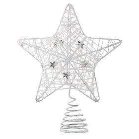 Puntale Albero Natale stella glitterata bianca s1