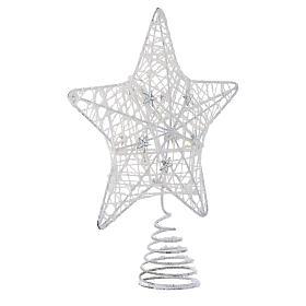 Puntale Albero Natale stella glitterata bianca s2