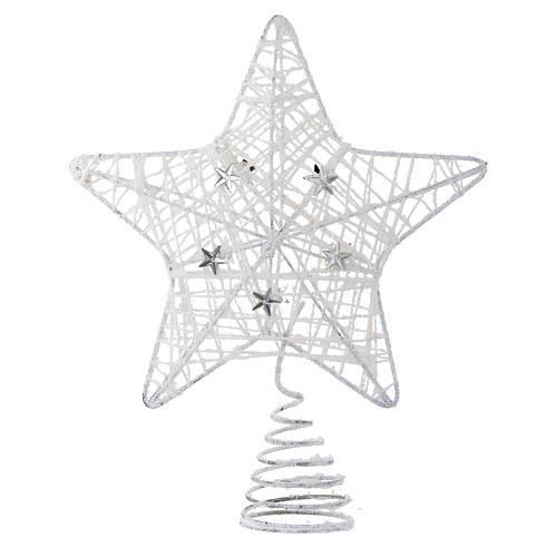 Puntale Albero Natale stella glitterata bianca 1