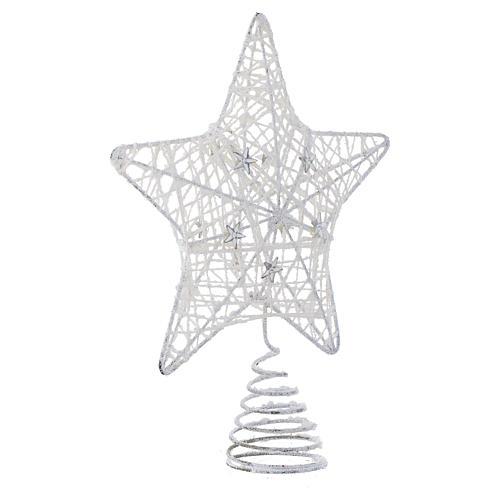 Puntale Albero Natale stella glitterata bianca 2