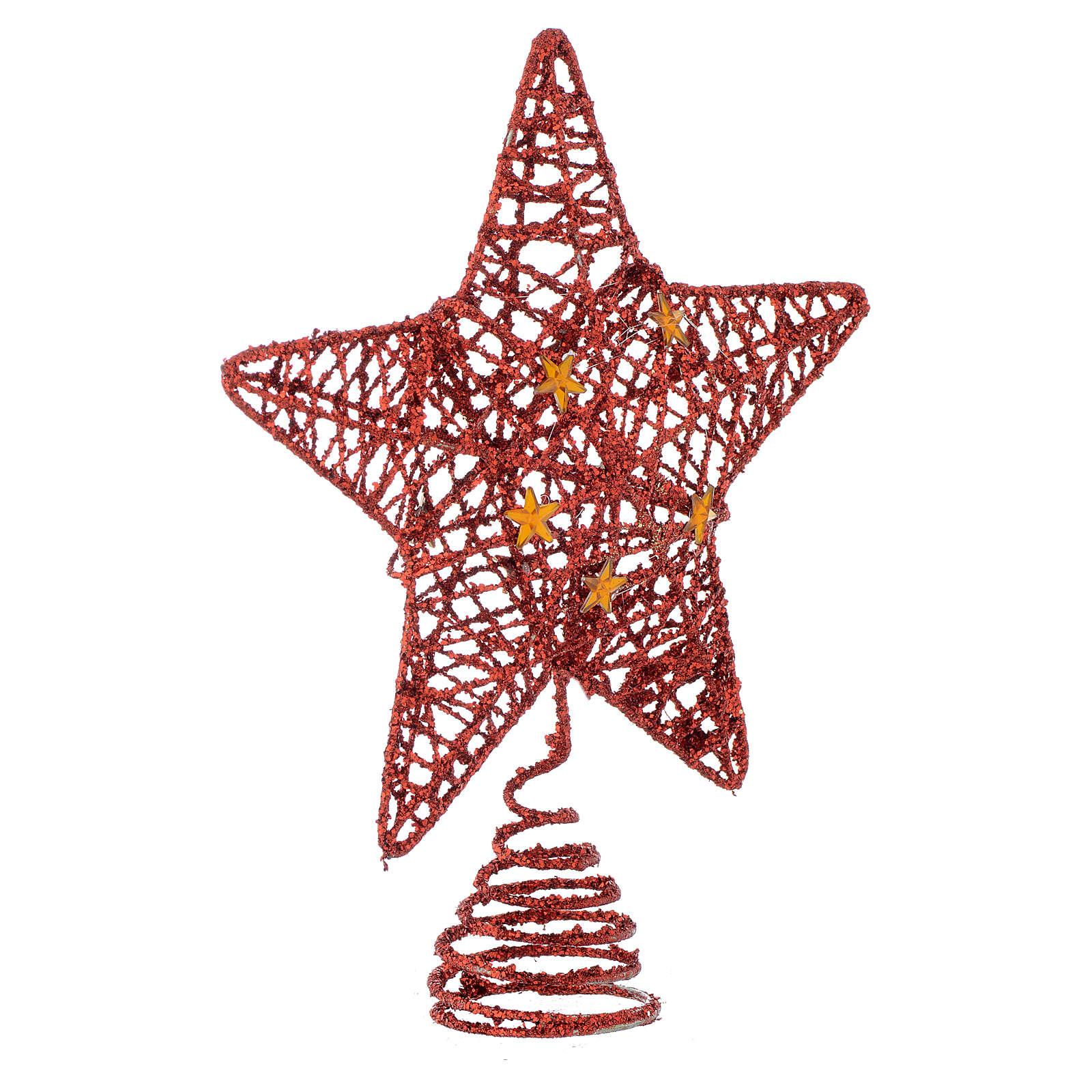 Cimier Sapin Noël étoile pailletée rouge 4