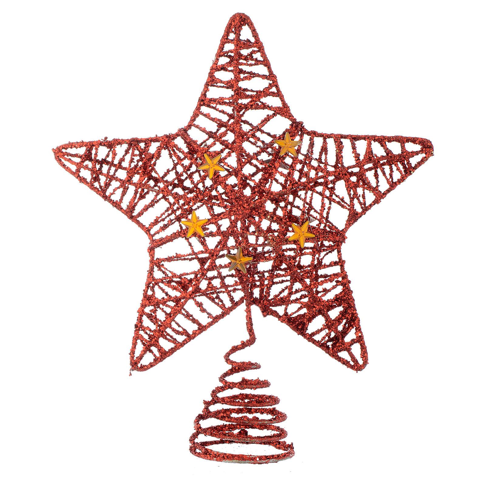 Puntale Albero Natale stella glitterata rossa 4