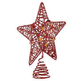 Puntale Albero Natale stella glitterata rossa s2