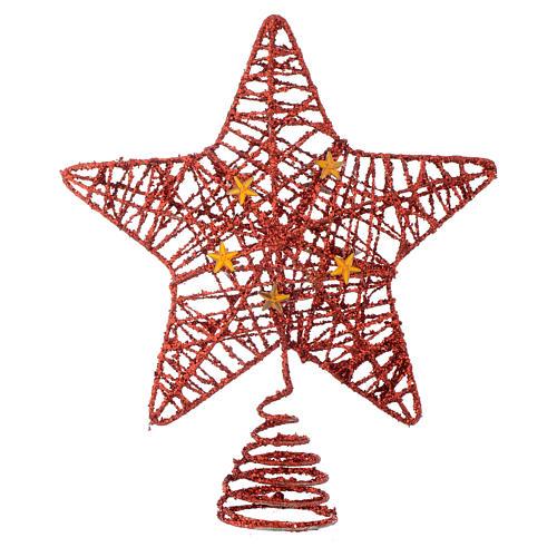 Puntale Albero Natale stella glitterata rossa 1