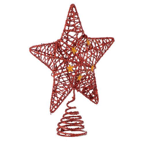 Puntale Albero Natale stella glitterata rossa 2