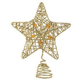 Adornos de madera y pvc para Árbol de Navidad: Punta Estrella con glitter dorado para Árbol de Navidad