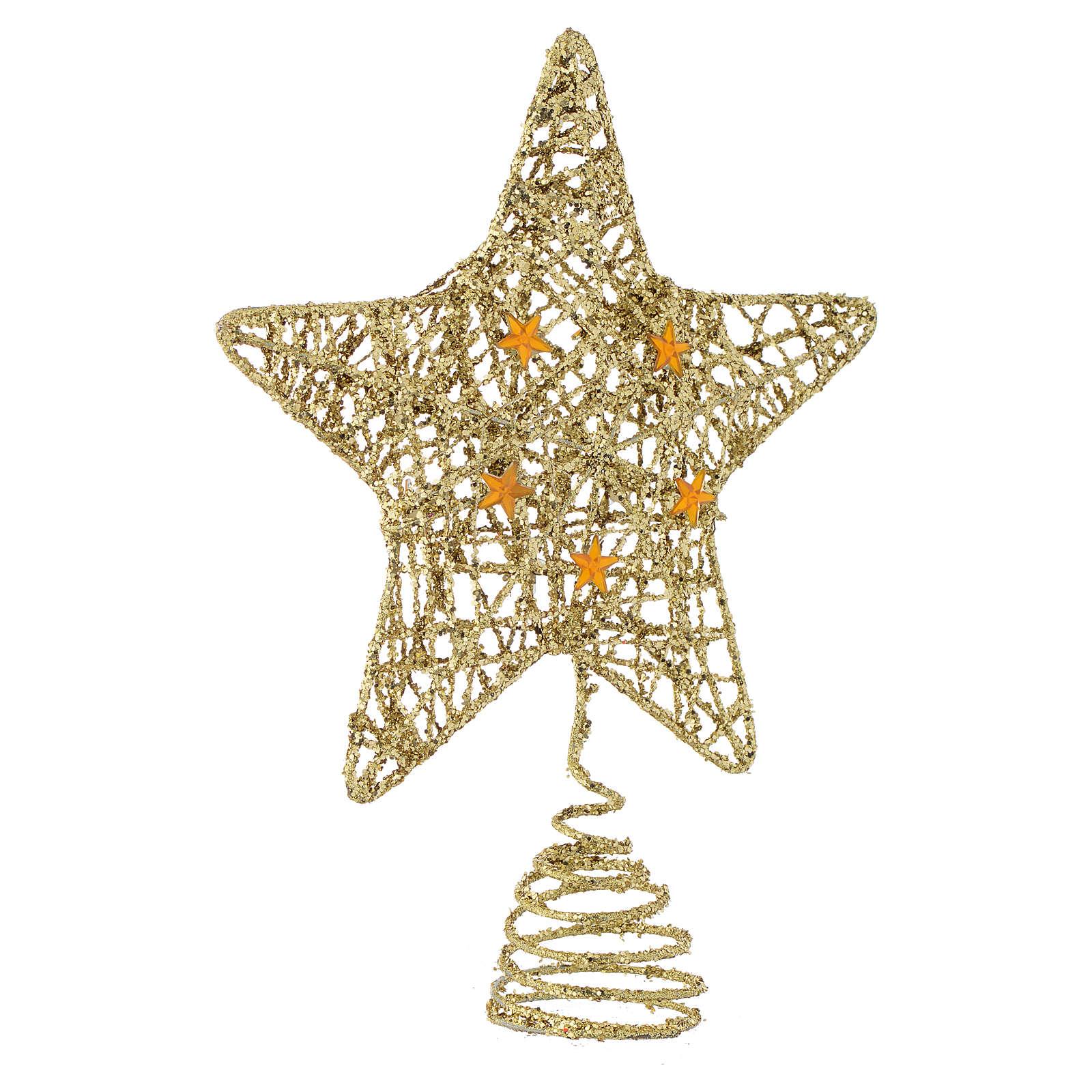 Puntale Albero Natale stella glitterata dorata 4