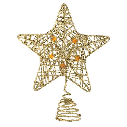 Puntale Albero Natale stella glitterata dorata 1