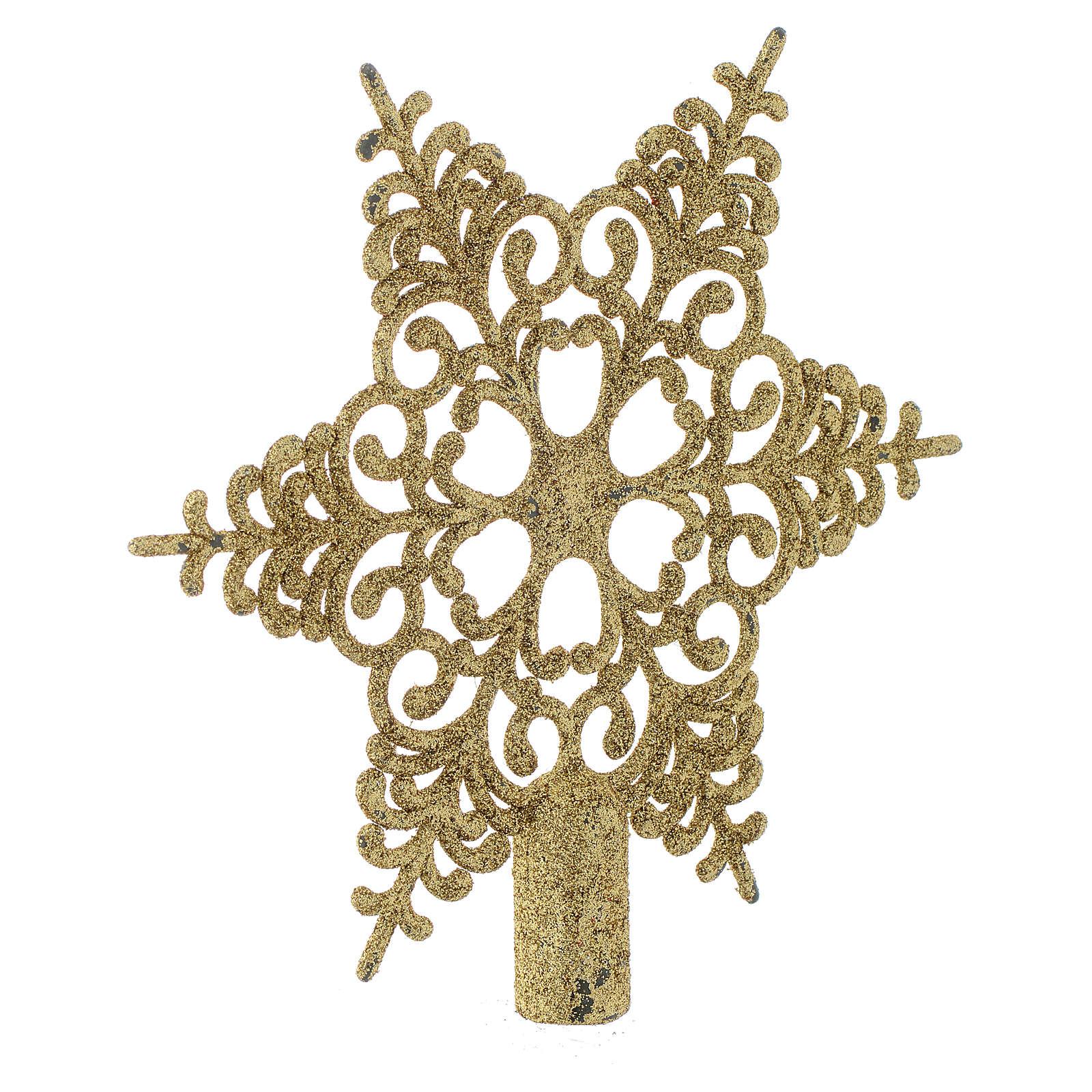 Punta del Árbol de Navidad copo de nieve dorado | venta online en ...