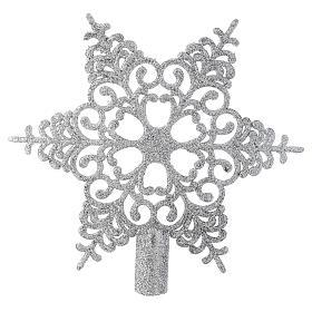 Puntale Albero Natale fiocco di neve argentato s1