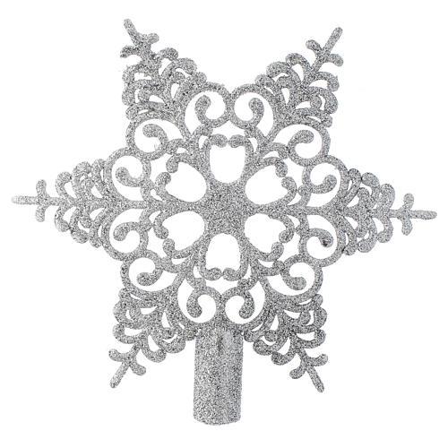 Puntale Albero Natale fiocco di neve argentato 1
