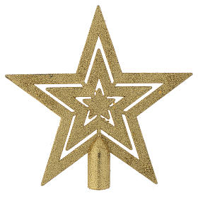 Christmas tree ornaments in wood and pvc: Christmas Tree star shaped topper, golden colour