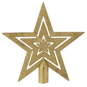 Puntale Albero di Natale forma stella dorato s1