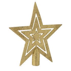 Puntale Albero di Natale forma stella dorato s2