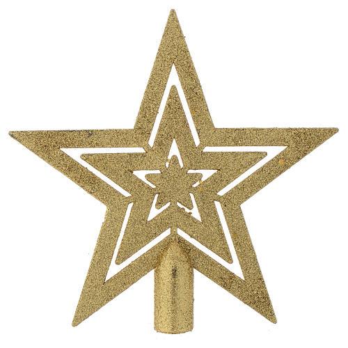 Puntale Albero di Natale forma stella dorato 1