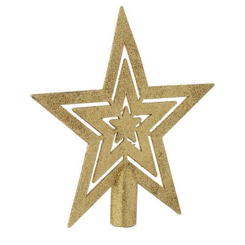 Puntale Albero di Natale forma stella dorato 2