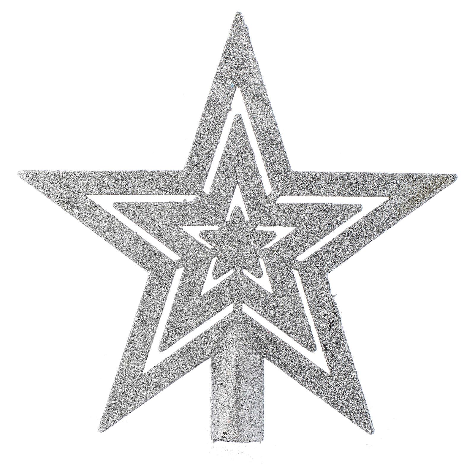 Cimier sapin Noël forme étoile argentée 4